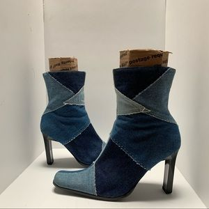 Paprika denim patchwork booties